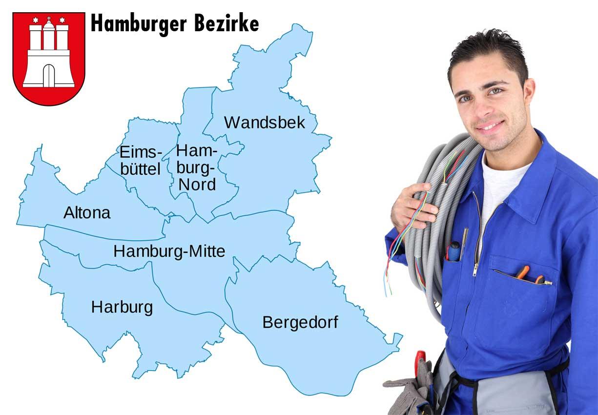 Elektriker Hamburg Bezirksaufteilung